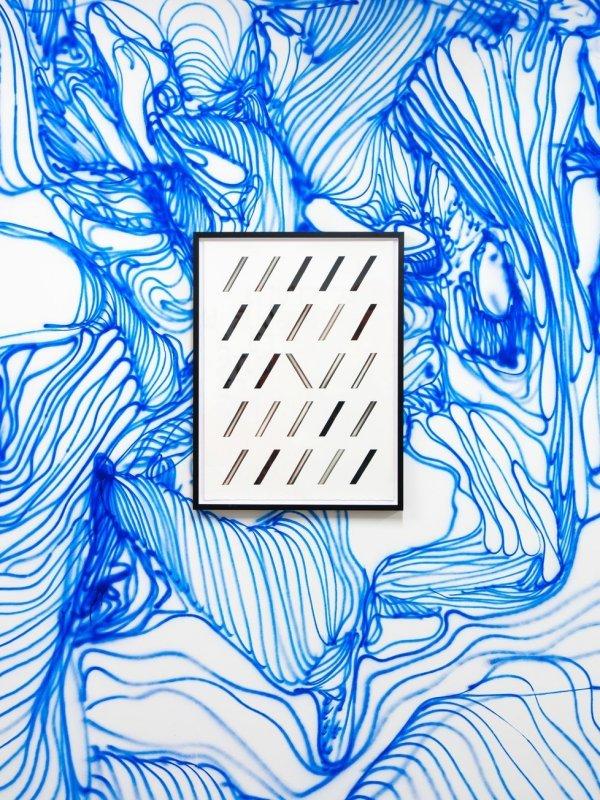 Führung für Gehörlose durch die Ausstellung - © Christian Schwarzwald LYRCS, 2017 Tusche auf Wand, Acrylfarbe auf Papier, gerahmt Foto: Christian Schwarzwald