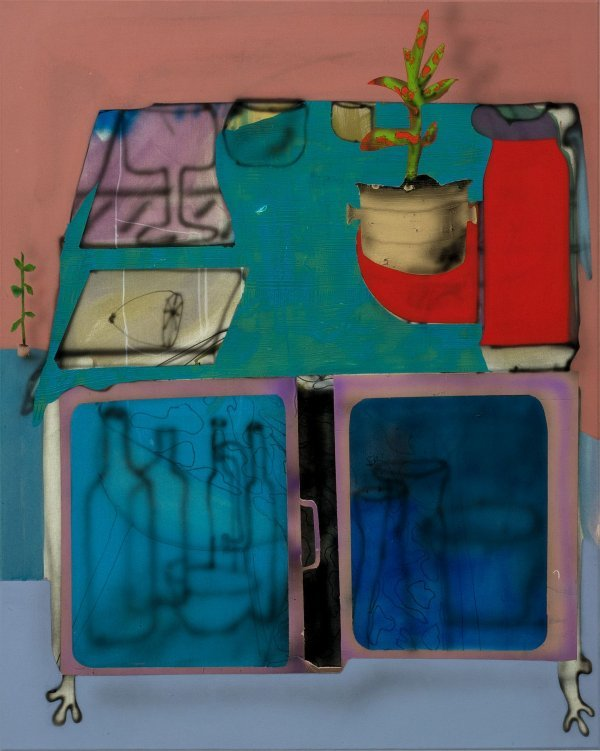 Fabian Treiber. A Minibar in a Large Scale Room - © Fabian Treiber: Minibar, 2018 Acryl, Tusche, Lack auf Leinwand, 100 x 80 cm  Privatsammlung Karin Madsen, Per Sørensen, Kopenhagen, Foto: Annette Kradisch