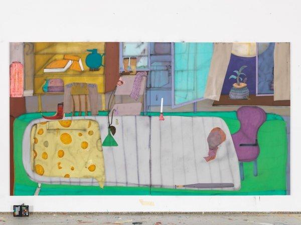 Eröffnung der Ausstellung - © Fabian Treiber: Evening, 2019 Acryl, Tusche, Lack auf Leinwand, 170 x 310 cm Courtesy KANT Galerie, Galerie Mark Müller, Ruttkowski;68 Galerie, Foto: Annette Kradisch