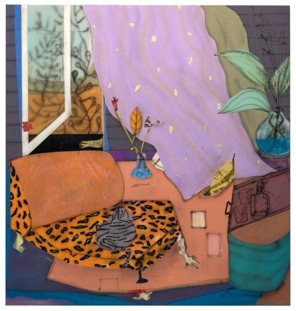 Kunstgespräch in der Ausstellung - © Fabian Treiber: recommended ot stay inside, 2018 Acryl, Tusche, Lack auf Leinwand, Foto: Fabian Treiber, Courtesy KANT Galerie, Galerie Mark Müller, Ruttkowski;68 Galerie